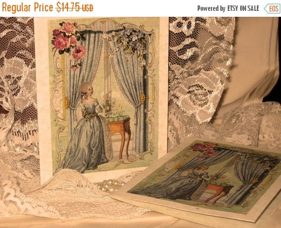 Sale Vintage French Design Marie Antoinette Handmade Cards Adormed with Bling on Parchment ECS