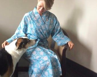 Cotton Robe Womens Kimono Blue Flower Hand Printed Kalamkari India Print Shipping Included in the U.S.