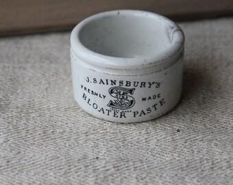 English ironstone pot - J. Sainsbury's Bloater Paste