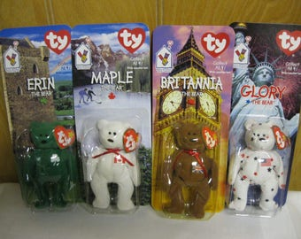 Ty International Bears Rare Complete Collection MIP - Maple - Erin - Glory - Britannia - Ty McDonalds Teenie Beanie Babies Fun For All Bears