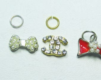 Nail Dangles:  3 Bows, CC and a Heart - Tiny Faux Pearls in some 8-A