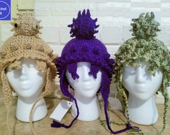 Texas Horny Toad Hat Crochet Kit - Texas Horned Lizard Hat Crochet Kit - Available in Beige, Purple, Gray or Camouflage