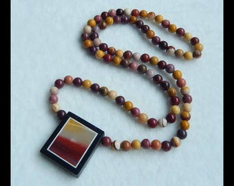 Mookite Jasper With Black Stone Intarsia Pendant Necklace,Mookite  Jasper Loose Beads,Gemstone Necklace,41.7g(e0323)
