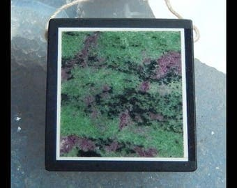 Ruby And Zoisite,Black Stone Intarsia Pendant Bead,33x32x6mm,16.1g(e0861)