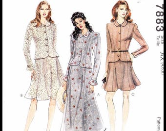 Vintage McCall's 7883 Pattern (AX 4 6 8) Tailored Button Jacket TOP & A-Line Flared Panel SKIRT - Slimming Princess Seaming - UNcut