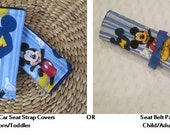 Reversible Car Seat Strap Covers // Stroller Strap Covers // Seat Belt Pad / / your choice of Minky Color- Mickey Mouse