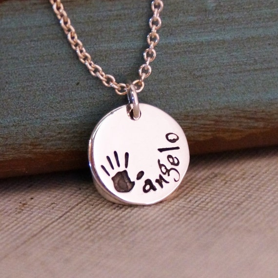 Baby Hand Print Personalized Necklace / Personalized Jewelry / Mommy Necklace / Hand Stamped Jewelry (short name)