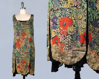 RARE 1920s Dress / LAMÉ Split Skirt Tunic Dress! / Layering Piece / Incredible!!