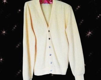 Men's Vintage Golf Cardigan - Classic Yellow Golf Sweater - 70s Acrylic