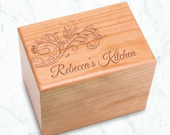 Floral Personalized Cherry Recipe Box Engraved, Any Name's Kitchen - 4x6 inch recipe cards birthday, chef, kitchen bridal shower grandma mom