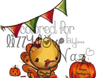 INSTANT DOWNLOAD Whimsical Thanksgiving Kawaii Turkey - Mrs. Ted Image No.344 by Lizzy Love
