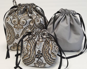 Square bottom drawstring bags in Classic Paisley Grey in three sizes - Reversible