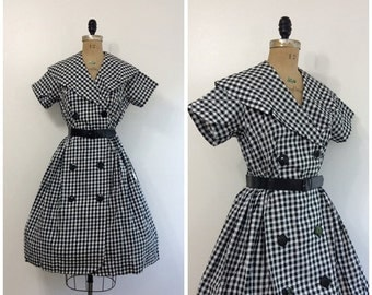 SALE 1950s Black and White Gingham Dress 50s NWT NOS