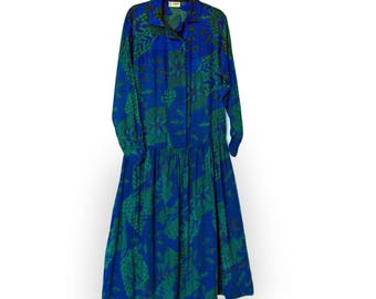 Maxi dress, original 1980s Indian cotton by Java, medium size (UK 12-16), dropped waist, long sleeves, excellent condition.