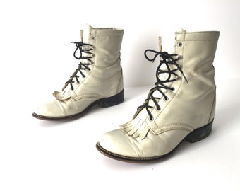 womens size 8 JUSTIN style brand LEATHER combat GRUNGE fringe boots