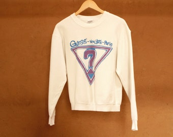 vintage PARIS, New York GUESS FADED white faded cropped sweatshirt