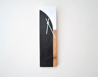 Modern Wood Wall Clock - Pallet -Hand Painted - Minimalist - Ready to Ship