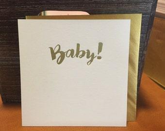 Baby!  letterpress card