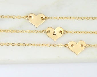 Heart Necklace, Personalized Gold Heart Necklace, Sideways Heart Love Necklace Choker Necklace Gold Filled Layering Necklace Bridesmaid Gift