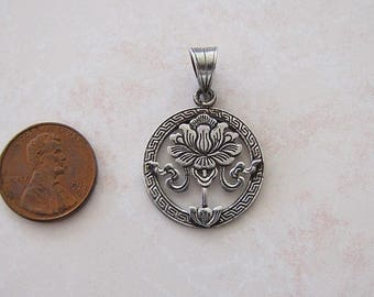 Vintage ornate lotus sterling silver Pendant
