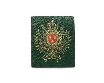 FrenchGreen & Gold Vintage Coat of Arms Leather Patch
