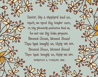 Savior, Like a Shepherd Lead Us - Floral Hymn Wall Art Print, folk art pattern, christian hymn, grandmother gift for women gift for mother
