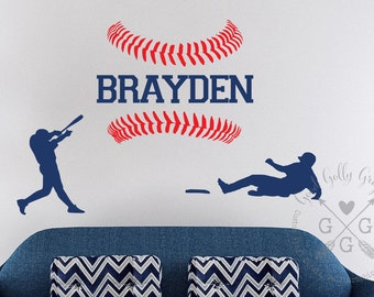 BASEBALL name wall decal -  Personalized sports wall decal - boy's name wall decal - teen baseball decal
