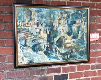 Midcentury Signed Painting of Abstract Cityscape