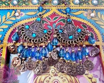 "Small 3 1/2"" Crystal Gypsy Chandelier Earrings, Bronze Ethnic Boho, Peacock Teal, Purple, Burgundy, Red, Blue Swarovski!,  Coin Charm Fan"