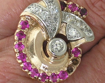 RETRO Platinum topped 14k ROSE Gold DIAMOND and Ruby Ring, Circa 1940