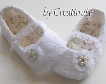 White Baby Shoes Lace Flower Girl Shoes Christening Shoes Baby Baptism Ballerina Shoes Soft Sole Shoes Crib Shoes Wedding Flats Ballet Flats