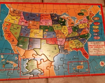 milton bradley wood puzzle reverse map usa world vintage
