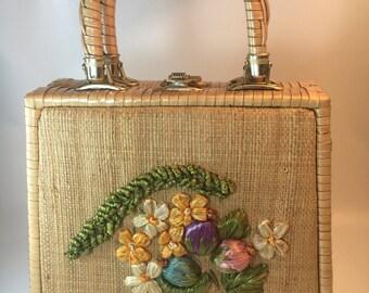 Vintage Designer natural wicker plastic coated handbag by mister ernest - Simon vinyl lined