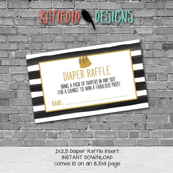 Diaper raffle INSTANT DOWNLOAD item 292 insert enclosure card wild things rumpus stripes gold crown black white diaper and wipes raffle card