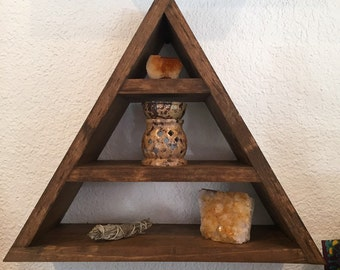 Wood Pyramid/Triangle Shelf (Dark Walnut)