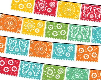 Papel Picado Clipart, Digital Fiesta Mexican Banners Clip Art, Cinco de Mayo Clip Art, Printable Papel Picado - PARTY
