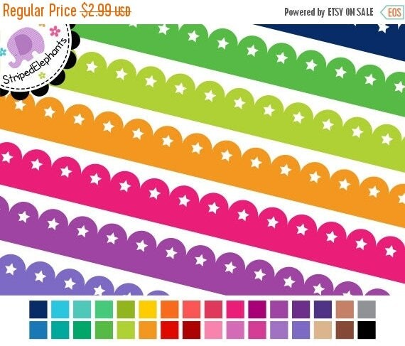 40% OFF SALE Clipart Border - Scalloped Star Digital Ribbons - Instant Download - Commercial Use