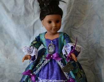 18 in doll clothes Marie Antoinette style gown blue gold purple lace jeweled hair comb with feathers cameo piece bows one of a kind