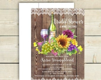Wine Bridal Shower, Wine Theme Bridal Shower, Sunflower & Wine, Wine Tasting Invitation,Vineyard Bridal Shower, Rustic Wood and Lace