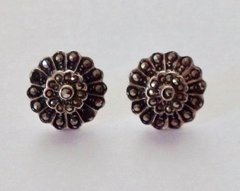 Vintage Marcasite Cluster & Sterling Post Earrings FREE SHIPPING