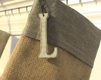 Stocking Name Tag - Stocking Charm - Christmas Ornament - Letter Ornament - Christmas Tree Ornament