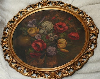 Family Heirloom Gift Antique Gold ROCOCO Frame Victorian OIL PAINTING Vintage Flowers Italian Hollywood Regency Edwardian French