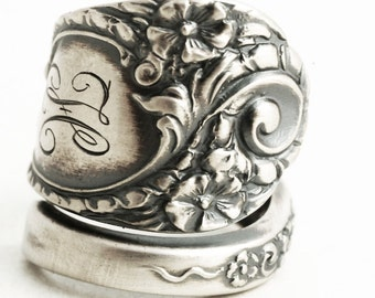 Victorian Spoon Ring, Sterling Silver Spoon Ring, Gift For Her, Antique Floral Victorian Ring, Engraved Mono H, Adjustable Ring Size (6333)