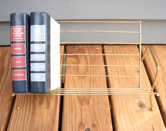 Vintage Gold Metal Book Stand, Tabletop Book Display Rack ... Desktop Metal Wire Book Shelf ... Office Decor