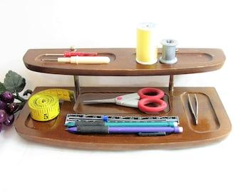 Walnut Wood Dresser Valet, Mid-Century Men's Accessories Caddy, Tiered Shelf, Silver Accents ... Office Desk Organizer, Charging Station