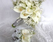 Reserved White Calla lily wedding bouquet Real touch mini white calla lily and creme lilac bridal bouquet