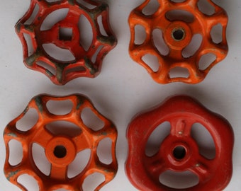 Orange You Happy-Vintage Valve Handles-Shipping Special-4 Faucet Knobs-Super Patina-Recycled-Upcycled Funky Handles