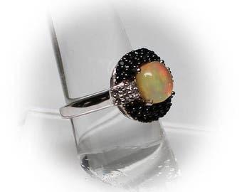 Sterling Silver Opal Multi-Gemstone Fashion Ring