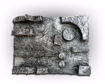 Metallic Silver Abstract Original Painting Super Heavy Textured Pallet Knife Art- Abstract in Silver No. 2 -18 x 24- by Skye Taylor