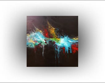 MADE TO ORDER - Original Painting Colorful Abstract on Black Painting Fine Art- Energy 2 -36 x 36- Skye Taylor